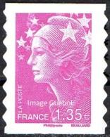 France Autoadhésif N°  289 ** Ou Modèle 4345 - Marianne De Beaujard Le 1.35 Eur. Rose, Bandes De Phosphore Interrompues - Adhésifs (autocollants)