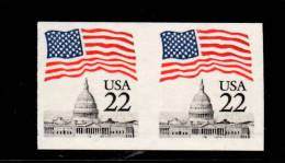 USA 1985 22c Flag Over Capital Issue #2115f  Imperf Pair - Errors, Freaks & Oddities (EFOs)