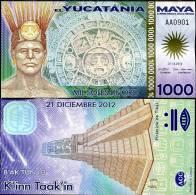 MAYA 1000 1,000 MIL SOLES DE ORO POLYMER 2012 P NEW UNC - Mexique