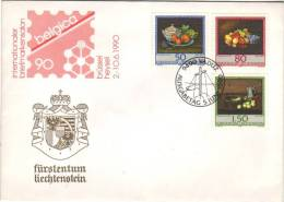 FDC Des Timbres Benjamin Steck Vaduz, 5/6/1990 Sur Enveloppe Belgica 90 Heysel Bruxelles