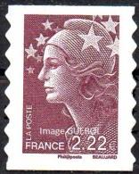 France Marianne De Beaujard Autoadhésif N°  290 ** Le 2.22 Eur. Brun Prune, Bandes De Phosphore Discontinues - 2008-13 Marianne De Beaujard