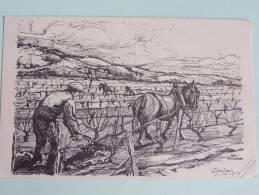 AGRICULTURE VIGNES  CARTE POSTALE DE COLLECTION F No 12 TRAVAIL DE LA VIGNE  G.JEANJEAN LE  LABOUR GENRE CROQUIS - Viñedos