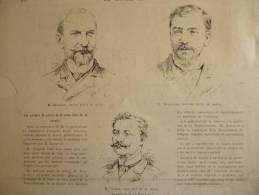 Gragnon Ancien Préfet Police, Bourgeois Le Nouveau , Goron Sous Chef Sureté , Gravure Dochy Dessin Vuillier 1887 - Documents Historiques