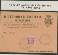 CARTE POSTALE # FETE D'AVIATION SAINT-BRIEUC # 1946 # CLUB PHILATELIQUE BRIOCHIN # CARTE N°.174 - Airplanes