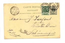 Postkaart1893 -type Lion Couché 5 C + Zegel 5c Type 'armoiries' - Stemp.10 Oct. 1893 Bruxelles(lux) + Scheveningen - B.5 - Entiers Postaux