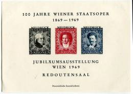 ERINNOFILI SU FOGLIETTO 100 JAHRE WIENER STAATSOPER 1869-1969 JUBILAUMS AUSSTELLUNG WIEN 1969 REDOUTENSAAL - Cinderellas