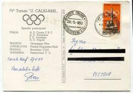 CARTOLINA IV TORNEO INTERNAZIONALE JUNIORES U. CALIGARIS CASALE MONFERRATO 1960 CON ANNULLO IV TORNEO CALCISTICO - 1971-80: Usati