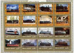 Umm Al Qiwain   Kleinbogen  Mi. 1210 / 1225  Lokomotiven - Treni