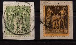 A1551) Frankreich France Mi.67II Und 82 Je Auf Briefstück - 1876-1898 Sage (Type II)