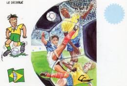 CPM -  FOOTBALL - MONDIAL  FRANCE 1998  -  BRESIL  - Illustration C. COUDRAY -  Festicart / Enghien Les Bains  Juin 1998 - Fútbol