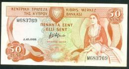 CYPRUS , 50 CENTS 1.10.1988. P-52 , XF - Cyprus