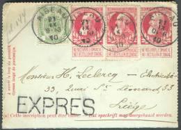 N°74(2)-83 En Affranchissement Complémentaire Sur E.P. Carte-lettre 10 Centimes Grosse Babre Obl. Sc AISEAU 21-IX-1910 E - Postbladen