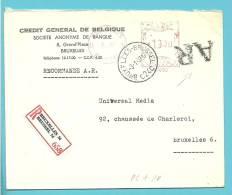 Brief Met Roodfrankeering Aangetekend-AR Met Stempel BRUXELLES 24C - Franking Machines