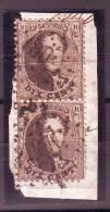 Fragt Affr. N°14 En Paire Verticale (1 Dft) 1 Annulé Lpts 100 , L'autre M.6 (ambulant MIDI 6). RR - 1863-1864 Medaillons (13/16)