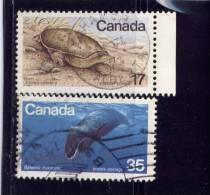 CANADA, 1979, USED  # 813-4, ENDANGERED  WILDLIFE; SIPNY SOFT-TURTLE & BOWHEAD WHALE USED - 1952-.... Règne D'Elizabeth II