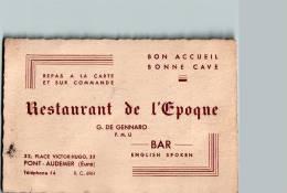 "Carte De Visite De GENNARO Restaurant De L""Epoque - Pont-Audemer - Scans Recto/verso - Visiting Cards"