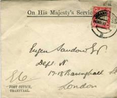 Johannesburg 16/11/1903 Pour Londres Arrivée 5/12 Timbre Transvaal Post Office Tranvaal Et On His Majesty's Service - África Del Sur (...-1961)