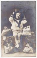LITTLE GIRL With TOP HAT And MONEY BAGS-NEW YEAR European Vintage Postcard 1910s  [c3417] - Portraits