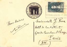 9116# DE LA FONTAINE SEUL / CARTEPOSTALE Obl VERSAILLES 1937 VISITE DES SOUVERAINS BRITANNIQUES VERSAILLES 21 - 7 - 38 - Marcophilie (Lettres)