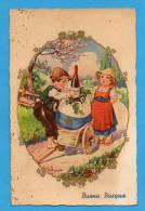 Joyeuses Pâques  Buona Pasqua   Enfants Avec  Oeuf  Et Bouteille    Carte Italienne - Ostern