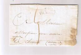 Lettre Avec Correspondance  Dép. Du Morbihan - 54. VANNES    Du 7 Janvier 1822 (31x10mm) Pour Chemillé (Maine & Loire) - 1801-1848: Précurseurs XIX