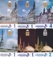 6 Paris Cartes, Vues De Paris, Views Hotel De Ville Et Tour Eiffel Tower - Francia