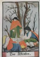 Hiver - Personnes Autour D'un Feu En Forêt - Malerei & Gemälde