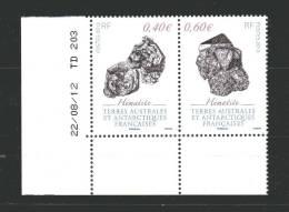 TAAF - N° 643/44 De  2013 - 2 Valeurs Se Tenant  Minéraux -  Hématite Avec Date Du 22/08/2012 - French Southern And Antarctic Territories (TAAF)