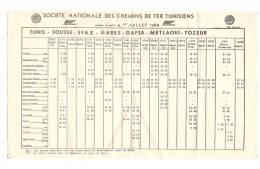 TUNISIE - SNCF - Horaires Trains 1988 - TUNIS - SOUSSE - SFAX - GABES - GAFSA - METLAOUI - TOZEUR - World