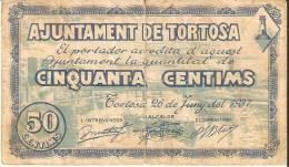 BILLETE DE 50 CTS DEL AJUNTAMENT DE TORTOSA  (BANKNOTE) - Sin Clasificación