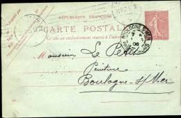 Carte 10c Semeuse Lignee Rouge De Paris Pour Boulogne 31/5/1906. Repiquage A Uverso - France