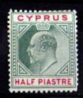 CYPRUS # 50.  ½pi, King Edward VII.  MH (*) - Cyprus (...-1960)