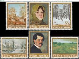 ROMANIA, 1975, Paintings By Ion Andreescu, MNH (**), Sc/Mi 2532-37 / 3247-52 - Arte