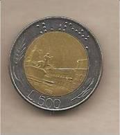"Italia - Moneta Circolata Da 500£ ""Bimetallico"" - 1982 - 1946-… : République"