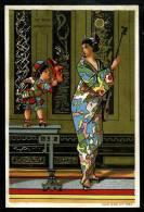 Au Bon Marché  - 8,2 X 12,3 Cm - Réhaussé D´Or- Thèmes : Japon - Geisha - Art Nouveau - Au Bon Marché