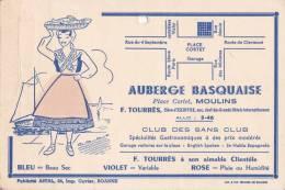 """MOULINS - Carton Publicitaire à Système De L' """" AUBERGE BASQUAISE """" Place Cortet - F. Tourres Propriétaire - Publicidad"""