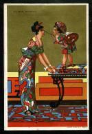 Au Bon Marché  - 8,2 X 12,3 Cm - Réhaussé D´Or - Thèmes : Japon - Geisha - Art Nouveau - Au Bon Marché