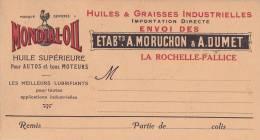 """LA ROCHELLE-LA PALISSE - Carton Publicitaire Des Huiles De La Marque """"MONDIAL-OIL"""" Des Etab MORUCHON & DUMET - Publicités"""