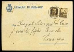 COMUNE DI LEGNAGO - PROPAGANDA DI GUERRA CENT. 30 IN USO TARDIVO - 10.10.1943 - P215 - 1900-44 Vittorio Emanuele III