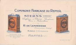 """NANTES  - Carton Publicitaire De La Compagnie Française Du Reptoïl """" R. De LEMPERIERE """" 5 Rue Haudaudine - Anc STERNS - Publicités"""