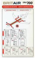 SAFETY CARD - BRITAIR - CRJ700 - A Voir ! - - Consignes De Sécurité