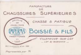 """VILLENEUVE-sur-LOT - Carton Publicitaire De La Manufacture De Chaussures """" BOISSIE & FILS """" - Maison Fondée En 1886 - Publicités"""