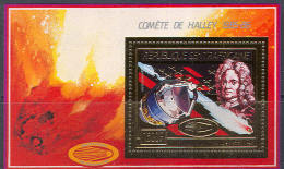 0755 Space Comete Halley Astronomy Gold Golden 1986 Central Africa S/s MNH ** 38ME - Space