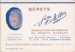 """BAYONNE - Carton Publicitaire De La Manufacture De Bérets Basques """" Georges MILTON """" Rue Brigadier Muscar - Publicités"""