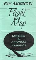CARTE RESEAU AERIEN - FLIGHT MAP - PAN AMERICAN - MEXICO AND CENTRAL AMERICA - Ann 50 - Trés Rare ! - A Saisir ! - - Monde