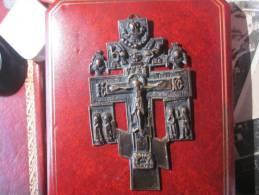 Tableau CROIX GRECQUE 13 Cm * 8 Cm  Métal Bronze Ou Cuivre - Religion & Esotérisme