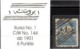 TURKEY , EARLY OTTOMAN SPECIALIZED FOR SPECIALIST, SEE... Postmark - 1901 - Bursa No. 1 - C/W No. 144 - 1858-1921 Empire Ottoman