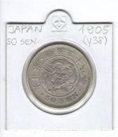 JAPAN  50 SEN   - MEIJI ERA -   1905 (Y.38) LARGE SILVER DRAGON COIN - Japon