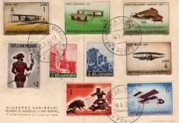San-Marin: 1962 Carte 1er Centenaire Du Camp De Garibaldi à San-Marin Avec Timbres Aviation Au Dos - San Marino