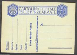 ITALIA - ITALY - STORIA POTALE  INTERO POSTALE NUOVA MINT MNH  CAMPAGNA D'ALBANIA  1939  FRANCHIGIA POSTA MILITARE - 1900-44 Vittorio Emanuele III